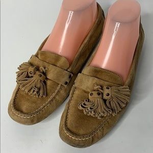 J.Crew Tassel Suede Camel Driving Shoes